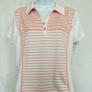 Zenergy Golf by Chicos Sz 2 Striped Front Polo Top